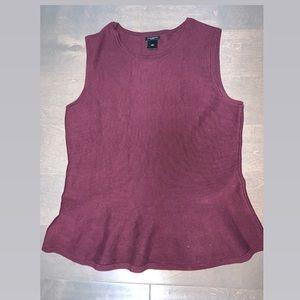 Ann Taylor Factory Burgundy Peplum Knitted Top